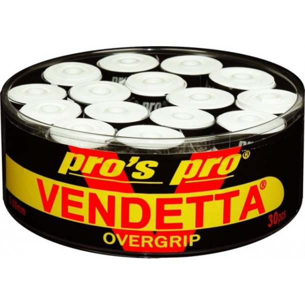 Vandetta badminton greb 0,60 Super grip - Hvid 30 stk.