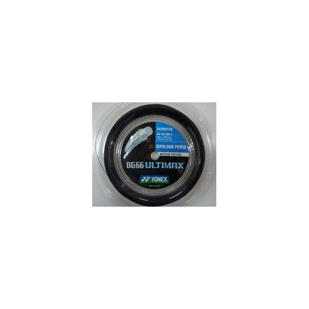 Yonex badminton streng. ---  BG 66 Ultimax, Sort- 200m.