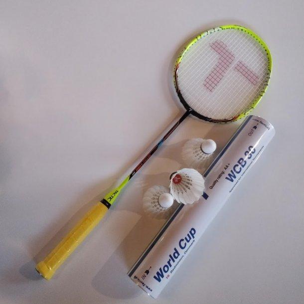 TILBUD's PAKKE. med kvalitets badmintonbolde og greb.  Sabre 99