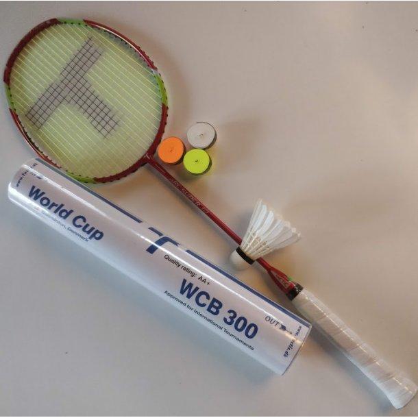 TILBUD's PAKKE. med kvalitets badmintonbolde og greb.  ARC SUPER 10 ULTRA hurtig