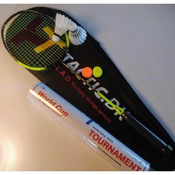 2 stk. PAKKE, med kvalitets badmintonbolde og greb.  HYPER LIGHT